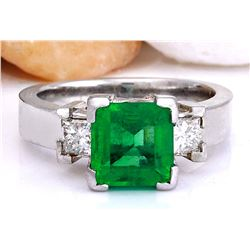 4.00 CTW Natural Emerald 18K Solid White Gold Diamond Ring
