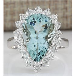 6.26 CTW Natural Aquamarine And Diamond Ring In 14K Solid White Gold