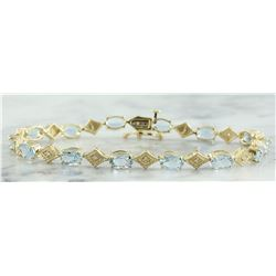 8.50 CTW Aquamarine 14K Yellow Gold Diamond Bracelet