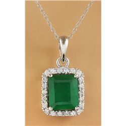 3.73 CTW Emerald 18K White Diamond Necklace