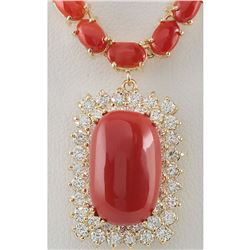 38.32 CTW Natural Red Coral And Diamond Necklace In 14K Yellow Gold