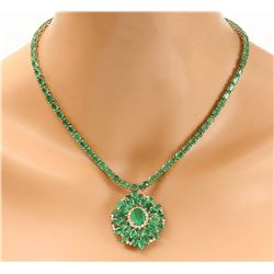 44.46 CTW Natural Emerald 14K Solid Yellow Gold Diamond Necklace