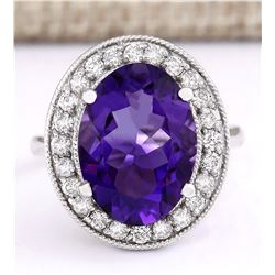 6.81 CTW Natural Amethyst And Diamond Ring In 18K White Gold