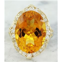 12.20 CTW Citrine 14K Yellow Gold Diamond Ring