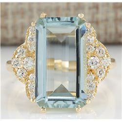 6.37 CTW Natural Aquamarine And Diamond Ring In 18K Yellow Gold