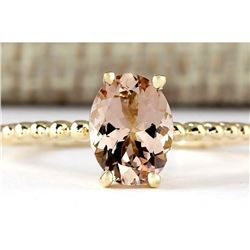 1.10 CTW Natural Morganite Ring In 14k Yellow Gold