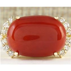 10.34 CTW Natural Coral And Diamond Ring In 14k Yellow Gold