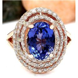 5.33 CTW Natural Tanzanite 18K Solid Rose Gold Diamond Ring