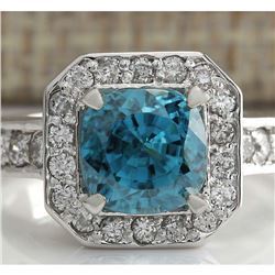 5.85 CTW Natural Blue Zircon And Diamond Ring 18K Solid White Gold