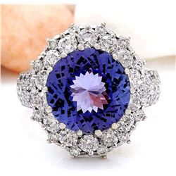 8.17 CTW Natural Tanzanite 14K Solid White Gold Diamond Ring