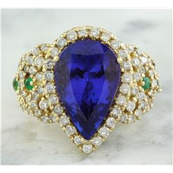 8.47 CTW Tanzanite, Emerald 18K Yellow Gold Diamond Ring