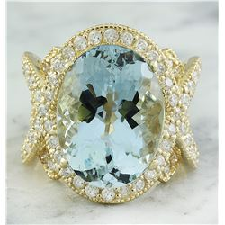 12.21 CTW Aquamarine 18K Yellow Gold Diamond Ring