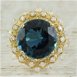 10.00 CTW Topaz 14K Yellow Gold Diamond Ring