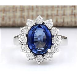 5.14 CTW Natural Ceylon Sapphire And Diamond Ring In 14k White Gold