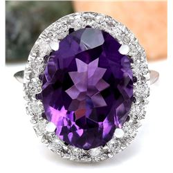 9.30 CTW Natural Amethyst 18K Solid White Gold Diamond Ring