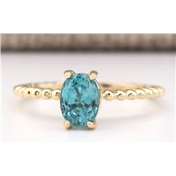 1.80 CTW Natural Blue Zircon Ring 18K Solid Yellow Gold