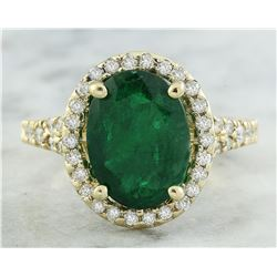 3.70 CTW Emerald 14K Yellow Gold Diamond Ring