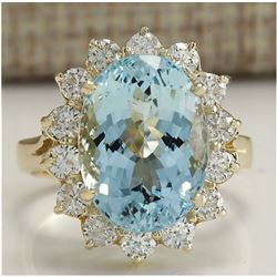 7.24 CTW Natural Aquamarine And Diamond Ring In 18K Solid Yellow Gold