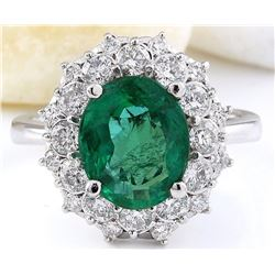 5.01 CTW Natural Emerald 18K Solid White Gold Diamond Ring
