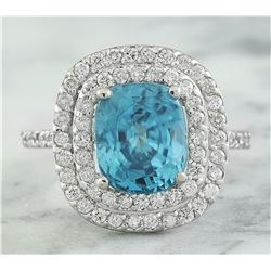 6.35 CTW Zircon 18K White Gold Diamond Ring