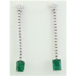 5.15 CTW Emerald 18K White Gold Diamond Earrings