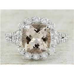 3.70 CTW Morganite 14K White Gold Diamond Gold