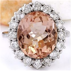 8.72 CTW Natural Morganite 18K Solid White Gold Diamond Ring