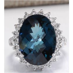 15.99CTW Natural London Blue Topaz And Diamond Ring In18K Solid White Gold