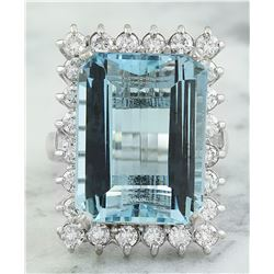28.80 CTW Aquamarine 18K White Gold Diamond Ring