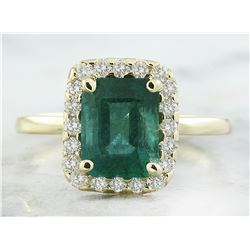 2.47 CTW Emerald 14K Yellow Gold Diamond Ring