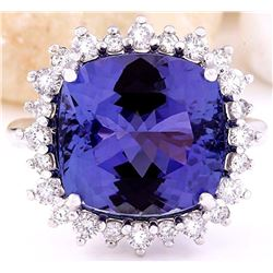 10.81 CTW Natural Tanzanite 14K Solid White Gold Diamond Ring
