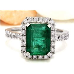 3.61 CTW Natural Emerald 18K Solid White Gold Diamond Ring