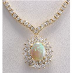 12.45 CTW Natural Australian Opal And Diamond Necklace In 14K Yellow Gold