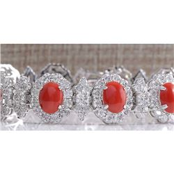 18.77 CTW Natural Red Coral And Dimond Bracelet In 14k Solid White Gold