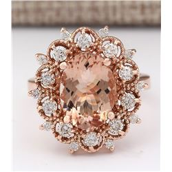 4.58 CTW Natural Morganite And Diamond Ring In 14k Rose Gold