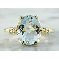 3.70 CTW Aquamarine 14K Yellow Gold Diamond Ring