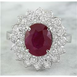 4.65 CTW Ruby 14K White Gold Diamond Ring