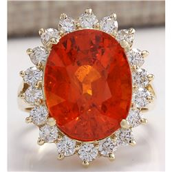 12.41 CTW Natural Mandarin Garnet And Diamond Ring 18K Solid Yellow Gold