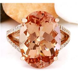 11.30 CTW Natural Morganite 18K Solid Rose Gold Diamond Ring