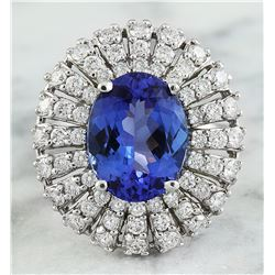 5.45 CTW Tanzanite 18K White Gold Diamond Ring