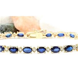 13.40 CTW Natural Sapphire 14K Solid Yellow Gold Diamond Bracelet