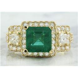 3.97 CTW Emerald 18K Yellow Gold Diamond Ring
