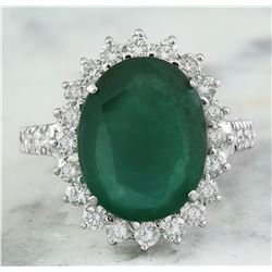 9.30 CTW Emerald 18K White Gold Diamond Ring