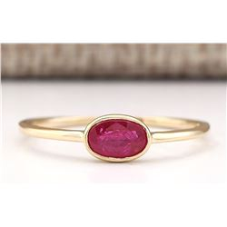 0.60 CTW Natural Ruby Ring In 18K Yellow Gold