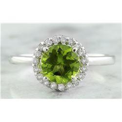 1.69 CTW Peridot 18K White Gold Diamond Ring