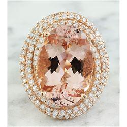 14.58 CTW Morganite 14K Rose Gold Diamond Ring