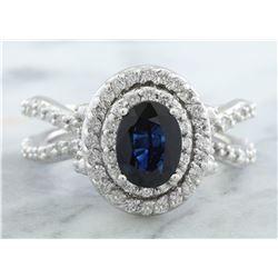 2.95 CTW Sapphire 18K White Gold Diamond Ring
