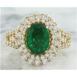 4.65 CTW Emerald 14K Yellow Gold Diamond Ring
