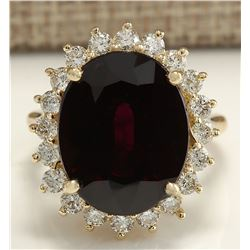 16.07 CTW Natural Hessonite Garnet And Diamond Ring 18K Solid Yellow Gold