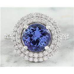 4.32 CTW Tanzanite 18K White Gold Diamond Ring